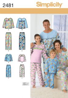2481 Simplicity Pattern: Child's, Teens' and Adults' Sleepwear